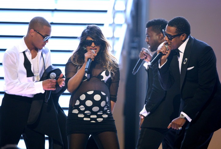 LOS ANGELES, CA - FEBRUARY 08: Rappers T.I., M.I.A, Kanye West and Jay Z performing onstage at the 51st Annual GRAMMY Awards held at the Staples Center on February 8, 2009 in Los Angeles, California. (Photo by John Shearer/WireImage)